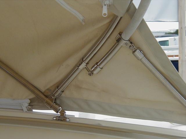 Gemini Marine Products split jaw and sliding rail mounts under canvas