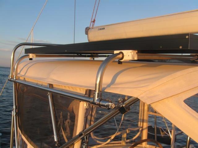 Gemini Marine Products solar panel frame under boom