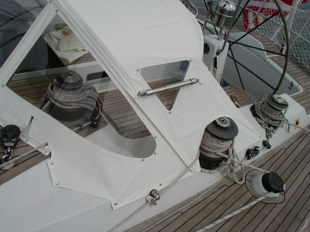 Gemini Marine Products drop top dodger on a sailboat