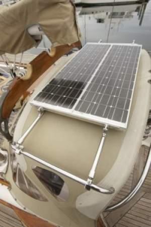 Customer's custom DIY solar panel setup using Gemini Marine Products.