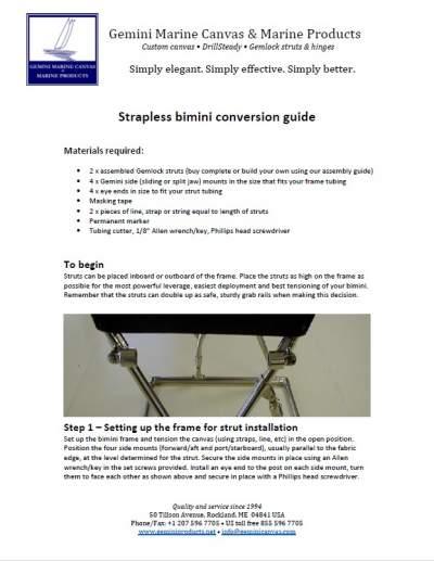 Strapless bimini conversion guide image